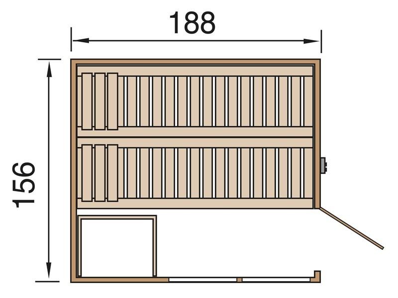 WEKA 45mm Massivholzsauna Elementbau Kemi Panorama 1 - inkl. Bio-Kombi-Ofen 7,5 kW und Zubehör