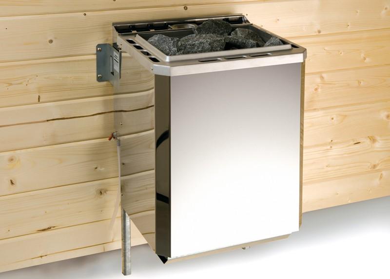 Sparset: WEKA 58mm Massivholzsauna Premium Sauna Terra Eck - Komplettset inkl. 7,5 kW Ofenset-Classic