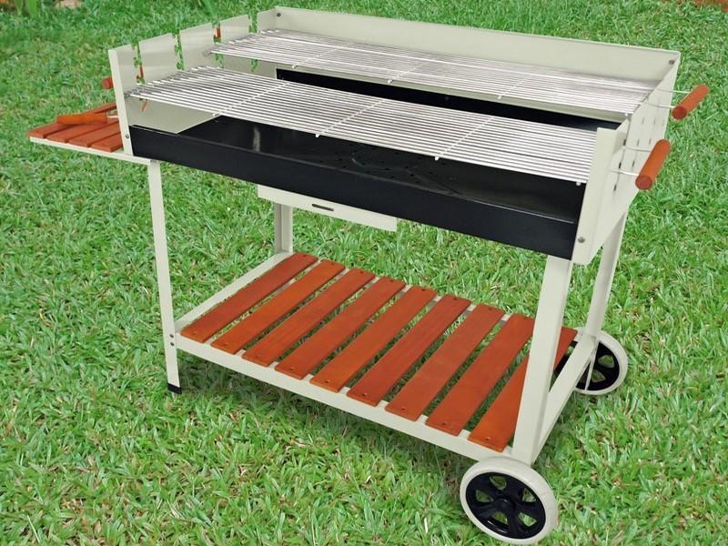 Grillwagen Grillwagen Calor - Stahl silber -Holzkohle Gartengrill