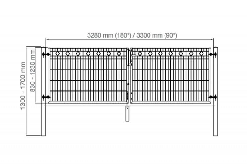 Schmucktor Vario Rezidenz Barcelona 2-flügelig silbergrau verzinkt - Torhöhe: 800 mm