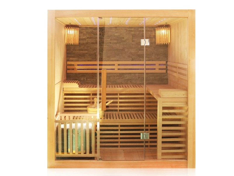 Dewello Elemenbau Sauna SarniaPlus  - 180 x 140 cm - inkl. Ofen und umfangreichen Zubehör - Komplett-Set