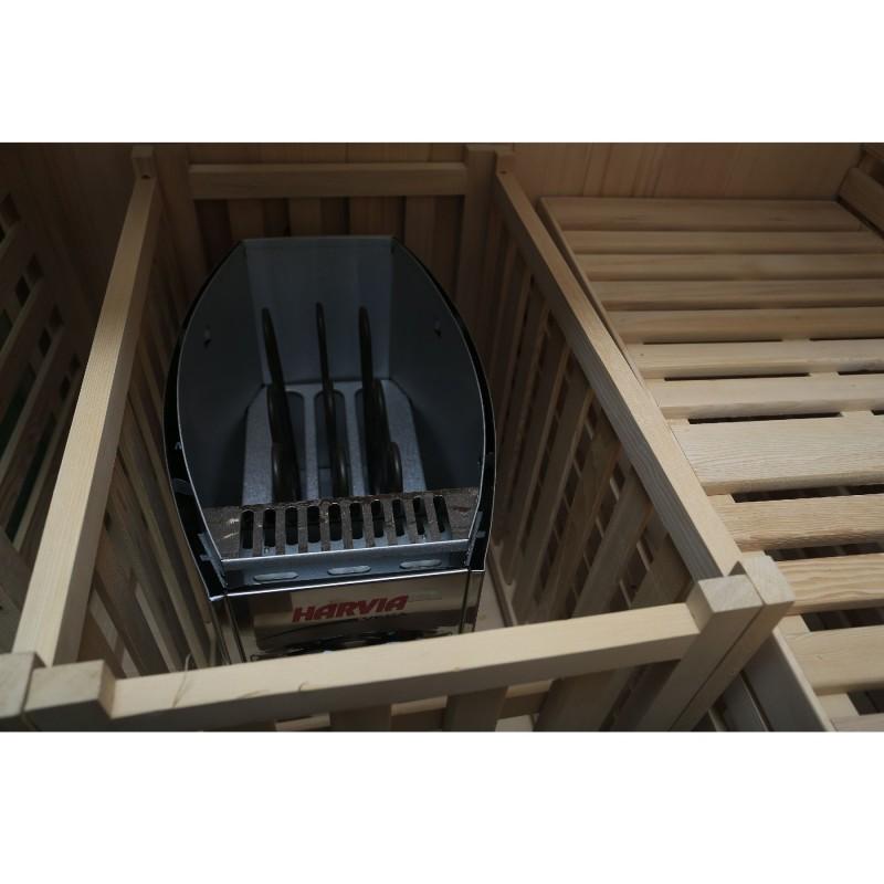 Dewello Massivholz Sauna Sarnia - 180 x 140 cm - inkl. Ofen und umfangreichen Zubehör - Komplett-Set
