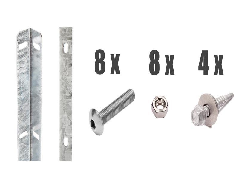 Zaunanschlussleisten Set Typ WL silbergrau - Zaunhöhe : 1430 mm