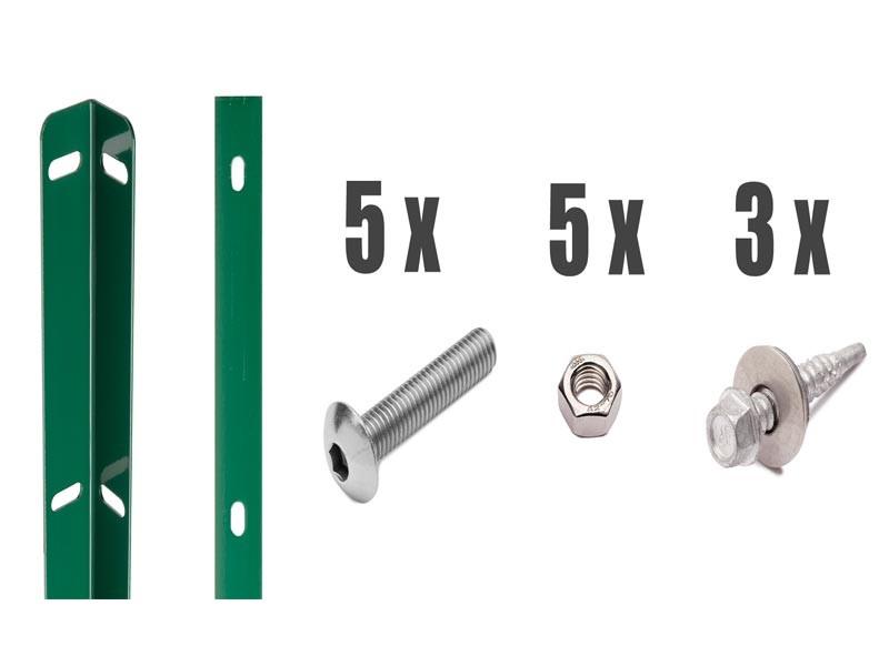 Zaunanschlussleisten Set Typ WL RAL 6005 moosgrün - Zaunhöhe : 830 mm