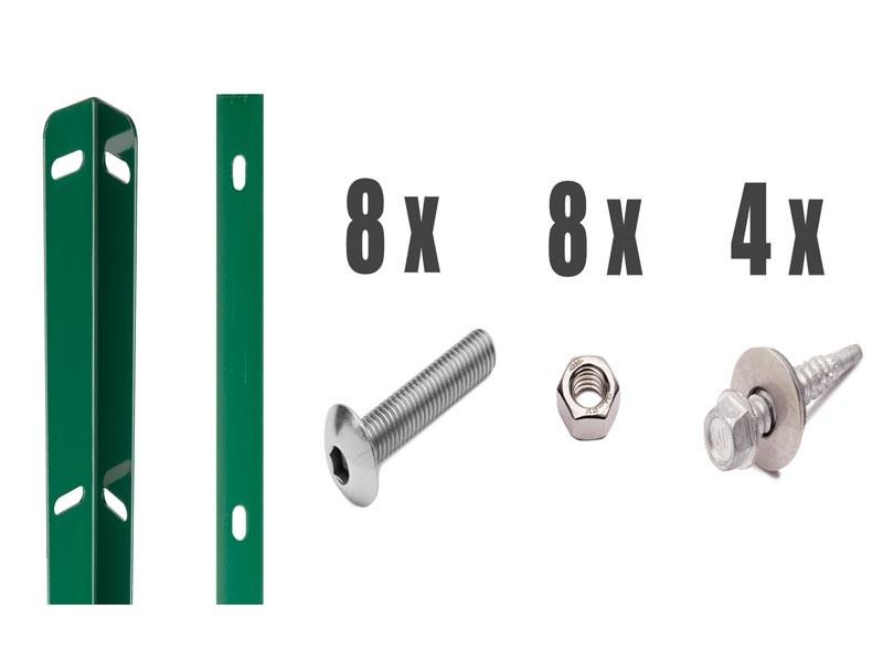 Zaunanschlussleisten Set Typ WL RAL 6005 moosgrün - Zaunhöhe : 1430 mm