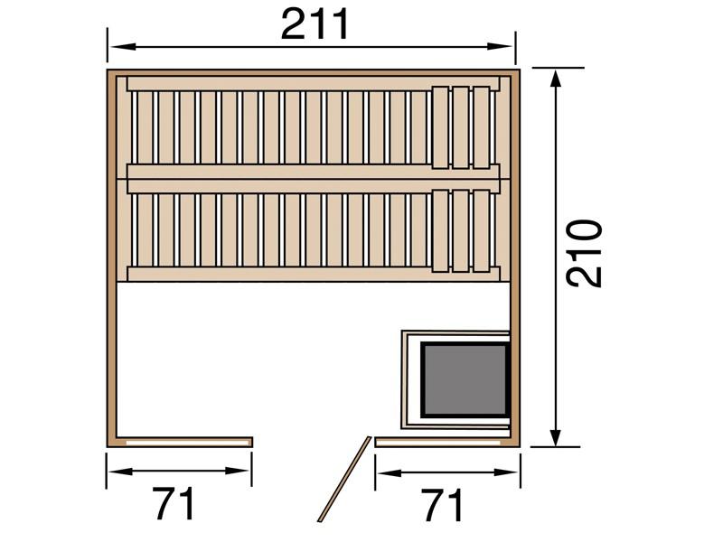 WEKA 45mm Massivholzsauna Elementbau Kemi Panorama 2 - inkl. Ofen 7,5 kW und Zubehör