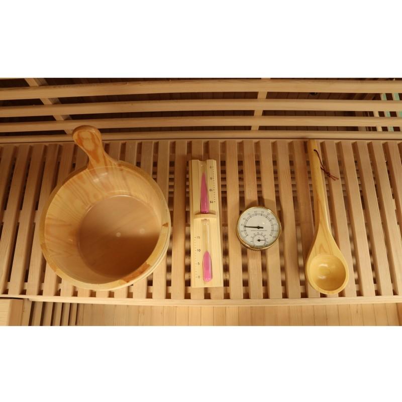 Dewello Massivholz Sauna Sarnia Plus - 200 x 200 - inkl. Ofen, Farblicht und Zubehör - Komplett-Set