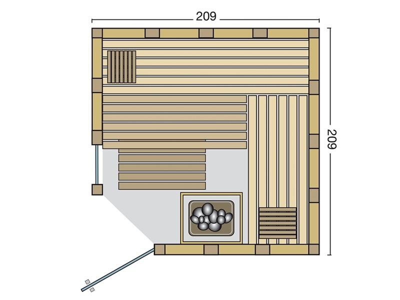 Infraworld Massivholzsauna Urban 209 Ecke - Eckeinstieg