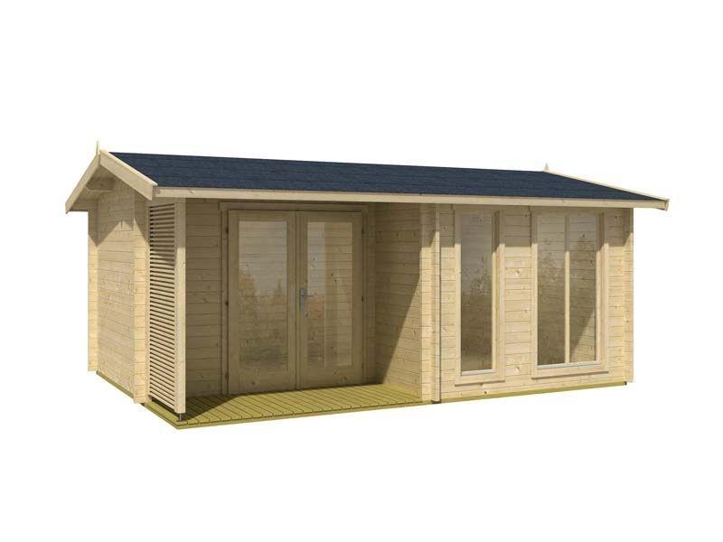 Lasita Maja Gartenhaus Brighton - 44 mm Blockbohlen - naturbelassen