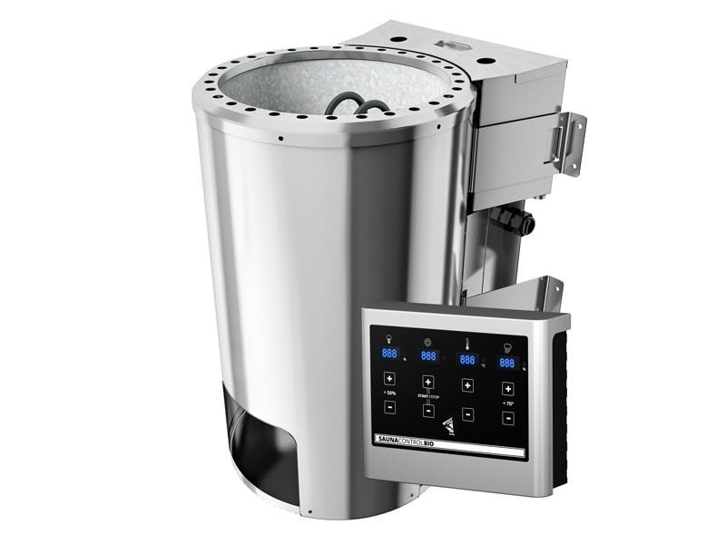 Sparset: Mini-Sauna Tabea inkl. Bio-Kombi Ofen 3,6 kW externe Steuerung, Sauna Leuchte mit Fassung. 6-teiliges Zubehörset, Kopfstüze, Dachkranz mit LED