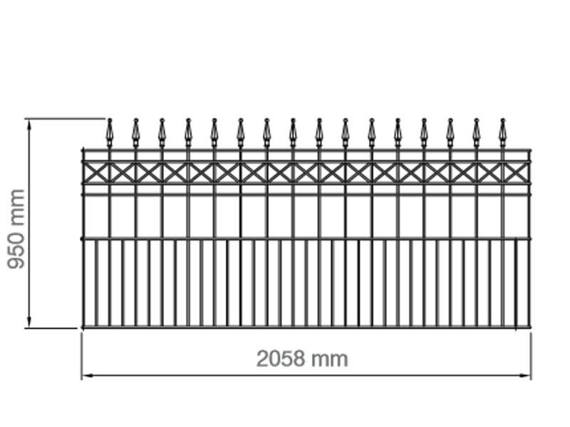 Schmuckzaun Mailand RAL 7016 anthrazitgrau - Höhe: 95mm Länge: 2058mm