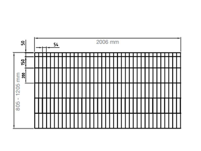 Stahlgitterzaun  Michl RAL 7016 Anthrazitgrau - Höhe: 1205 mm Länge: 2000mm