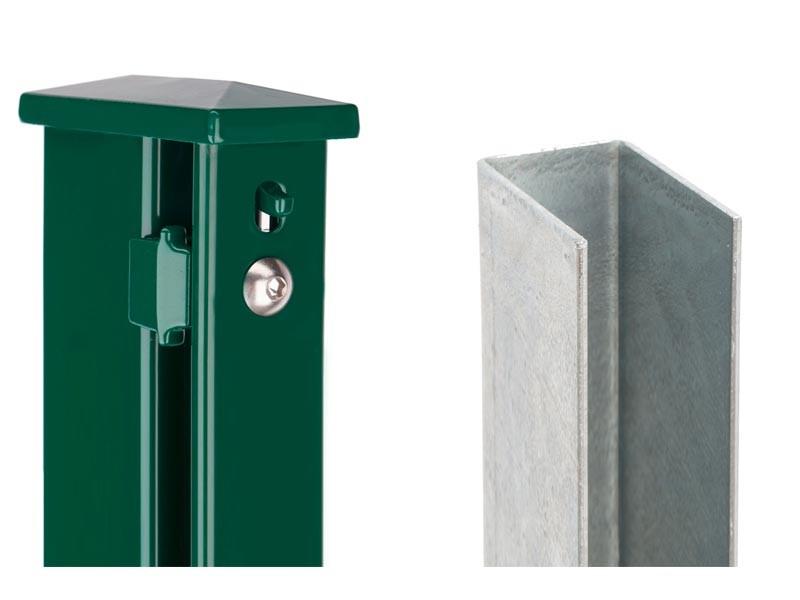 Zaunpfosten Doppelstabgitterzaun Typ XA  RAL 6005 moosgrün - Länge: 2200 mm