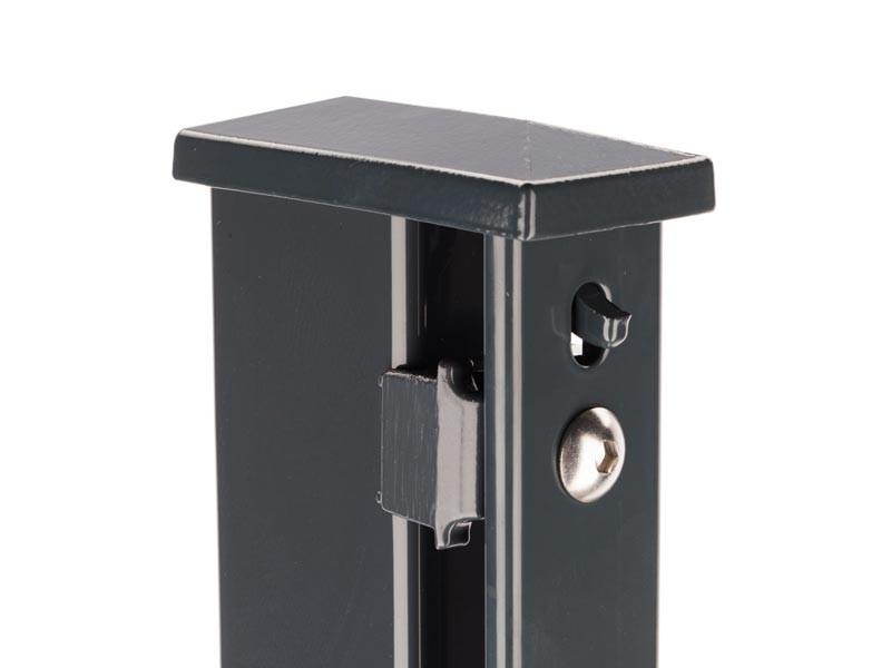 Zaunpfosten Doppelstabgitterzaun Typ XA  RAL 7016 anthrazitgrau - Länge: 1400 mm