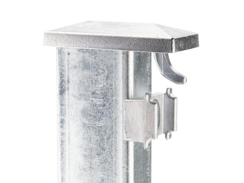 Zaunpfosten Doppelstabgitterzaun Typ XAF Kurzpfosten  silbergrau verzinkt - Länge: 1285 mm