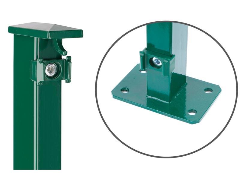 Zaunpfosten Doppelstabgitterzaun Typ XAF Kurzpfosten  RAL 6005 moosgrün - Länge: 2085 mm
