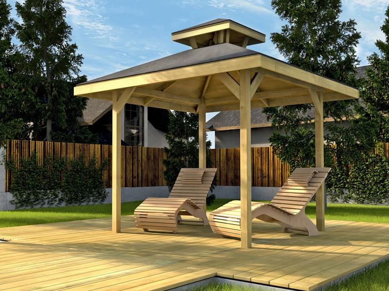 WEKA Gartenoase Holz Pavillon 651 Gr.1 mit Dachaufsatz
