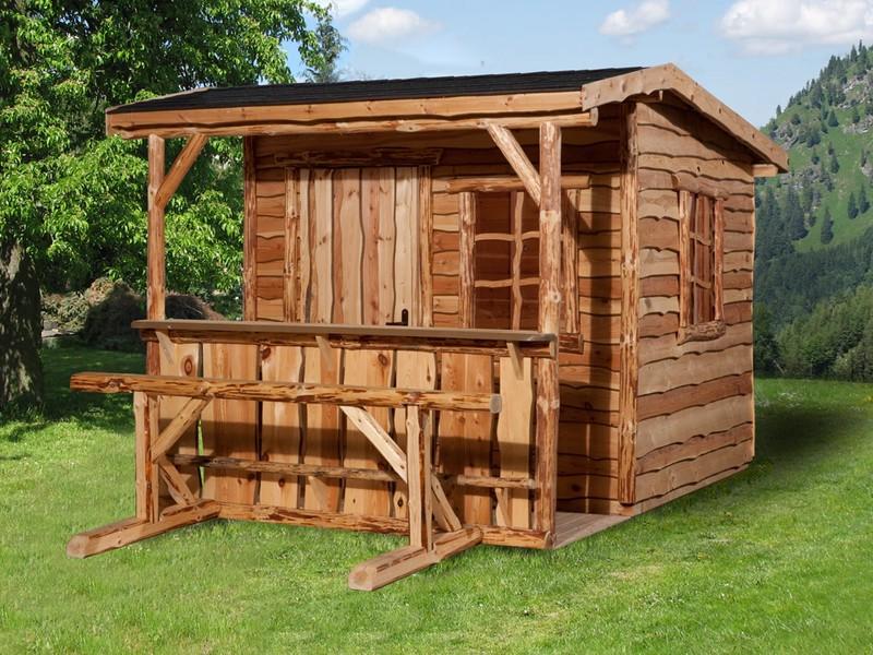 WEKA Marktstand Almhütte 820 A Gr.1, natur mit Vordach und Tresen - inkl. Tresen und Sitzgelegenheit