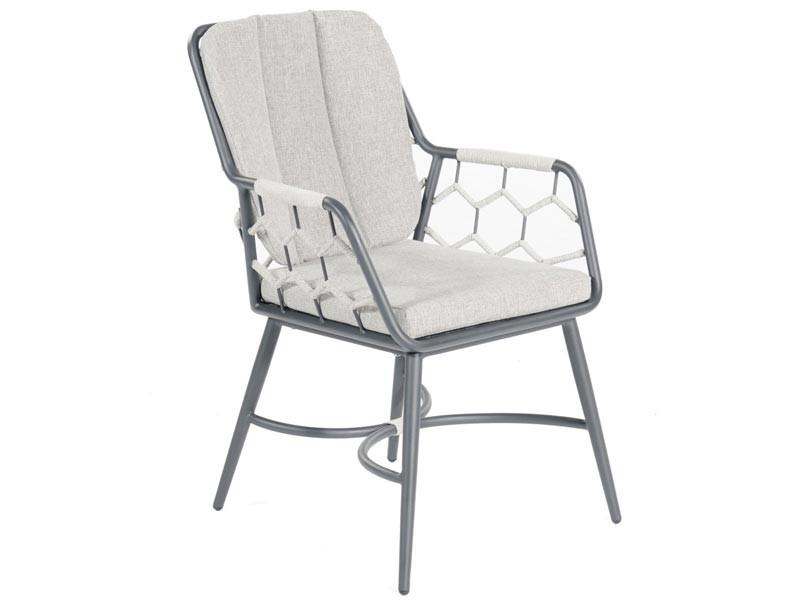 """SonnenPartner Sessel """"Yale"""" Kunststoffgeflecht Polyrope silbergrau inkl. Kissen"""
