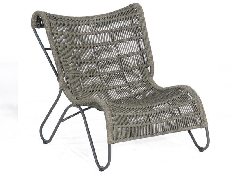 """SonnenPartner Lounge-Comfort-Sessel """"Ritz"""" Kunststoffgeflecht Polyrope grau/Alu"""