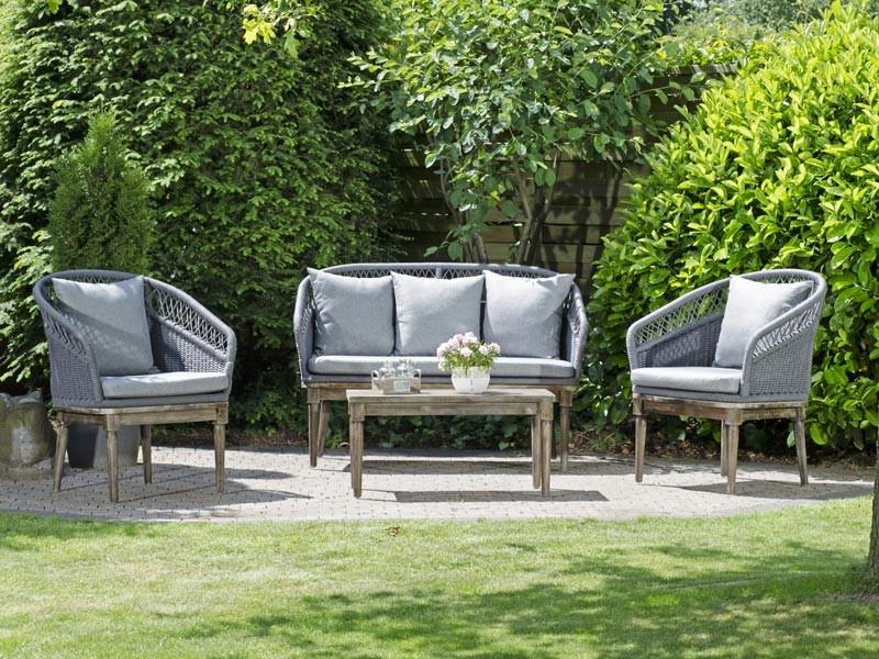 "SonnenPartner Lounge-Set ""Albany"" in der Farbe Grau mit Holzgestell"
