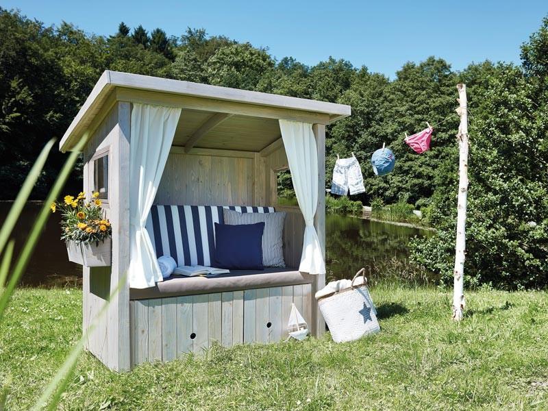 """SonnenPartner Outdoor-Lounge """"Hüttenliebe"""" silbergrau  inkl. Polsterpaket """"Meeresrauschen"""" und Vorhangset"""