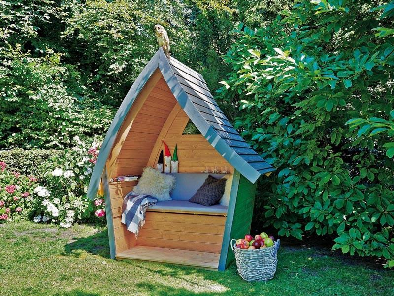 """SonnenPartner Outdoor-Lounge """"Hüttentraum"""" blattgrün/steingrau/honiggelb inkl. Polsterpaket """"Waldesruh"""" (2-teiliges Polster + Rückenkissen)"""