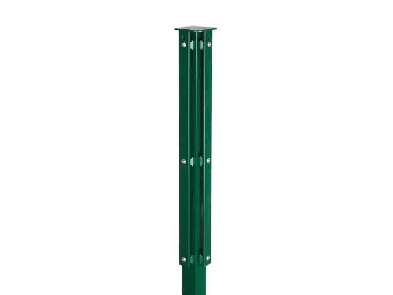 Zaunpfosten Doppelstabgitterzaun Eckpfosten Typ XA RAL 6005 moosgrün - Länge: 1400 mm