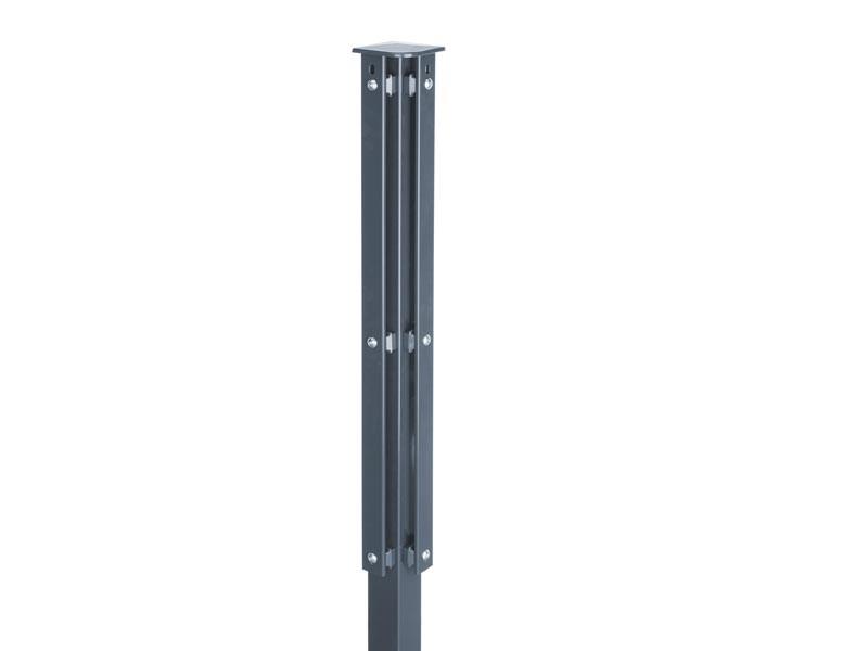Zaunpfosten Doppelstabgitterzaun Eckpfosten Typ XA RAL 7016 anthrazitgrau - Länge: 2000 mm