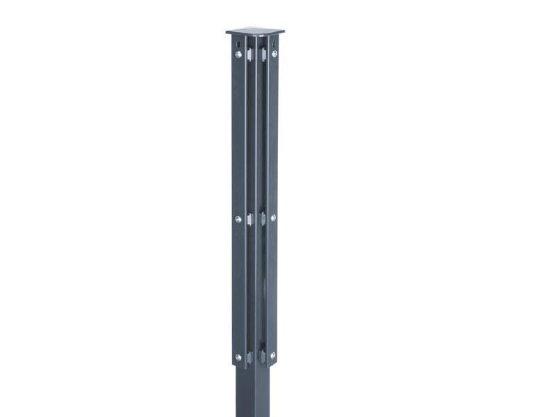Zaunpfosten Doppelstabgitterzaun Eckpfosten Typ XA RAL 7016 anthrazitgrau - Länge: 2400 mm