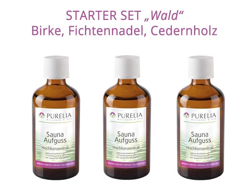 "Starter Set 2: Saunaaufguss ""Wald"" - 3x 50 ml - Fichtennadel, Birke, Cedern"