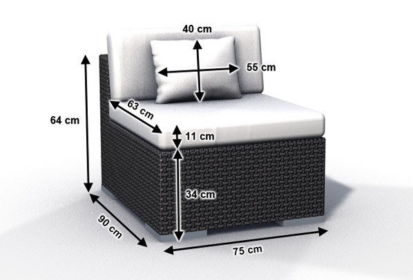 Rattan Loungeelement Espace Luxus Sofa Mitte inkl. Kissen - Farbe: Schwarz