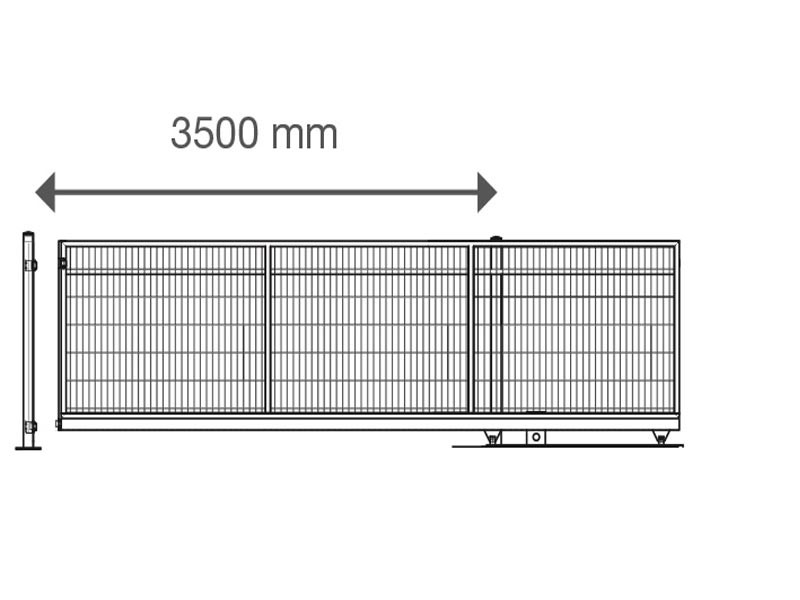 Schiebetor V-Star F60 integriert RAL 7016 anthrazitgrau (B: 3500mm x H: 1800 mm) - elektrisch betrieben