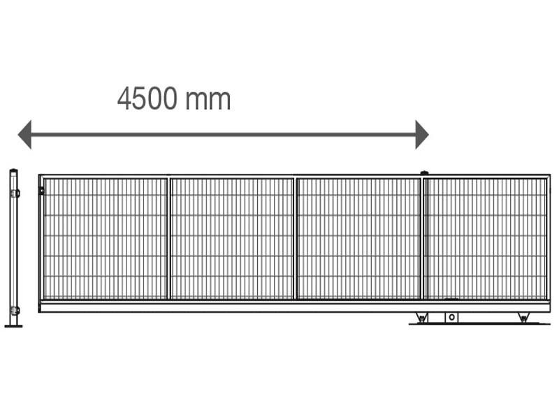 Schiebetor V-Star F60 integriert RAL 7016 anthrazitgrau (B: 4500mm x H: 1200 mm) - elektrisch betrieben