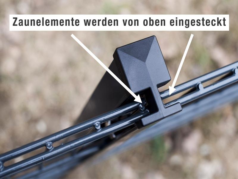 Zaunpfosten Doppelstabgitterzaun Typ HP-MA  RAL 7016 anthrazit Länge: 1300 mm
