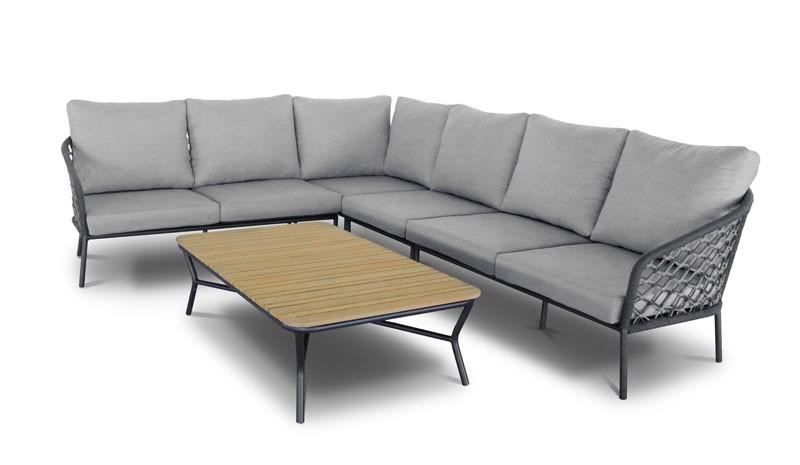 Best Lounge-Gruppe Mali, 5-tlg. Stellfläche 246 x 323 cm, inkl. Auflagen - anthrazit