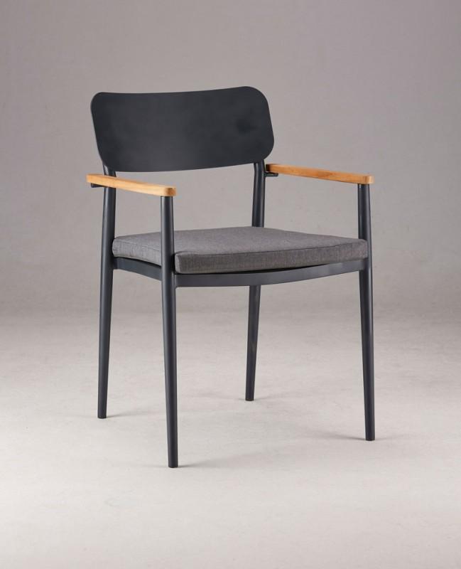 Best Stapel-Sessel Dakar mit Teakholz-Armlehnen, 56 x 59 x 84 cm schwarz