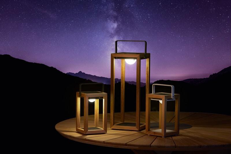 Best-Light Solarleuchten Teak inkl. Solarpanel, 21 x 20 x 53 cm teak/weiß