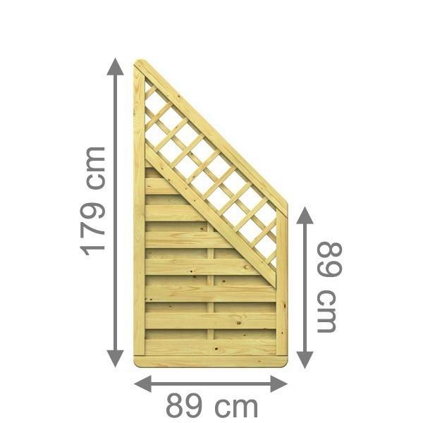 TraumGarten Sichtschutzzaun Nadelholz XL Anschluss kdi mit Gitter gerade - 89 x 179 auf 89 cm