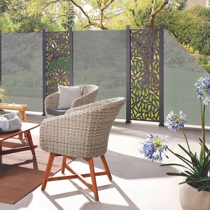 TraumGarten Sichtschutzzaun System Glas Texta - 120 x 180 cm