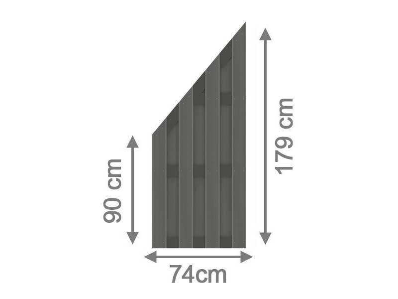 TraumGarten Sichtschutzzaun Jumbo WPC Aluminium-Design Anschluss anthrazit 74 x 179 auf 90 cm