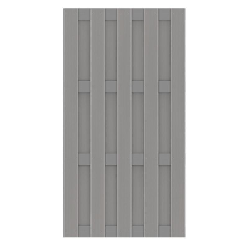 TraumGarten Sichtschutzzaun Jumbo WPC Aluminium-Design  Grau/Alu Grau - 95 x 179 cm