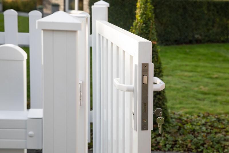 TraumGarten Gartentor Kunststoff Longlife Cara XL DIN links - weiß - 106 x 90 cm
