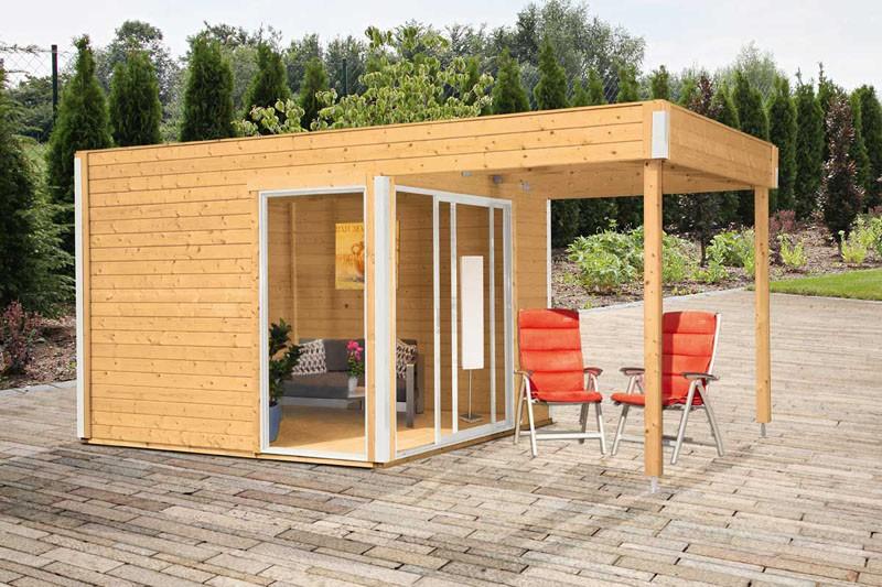 Wolff Finnhaus Gartenhaus Studio 44 B Mit Lounge Anbau Und Schiebetur