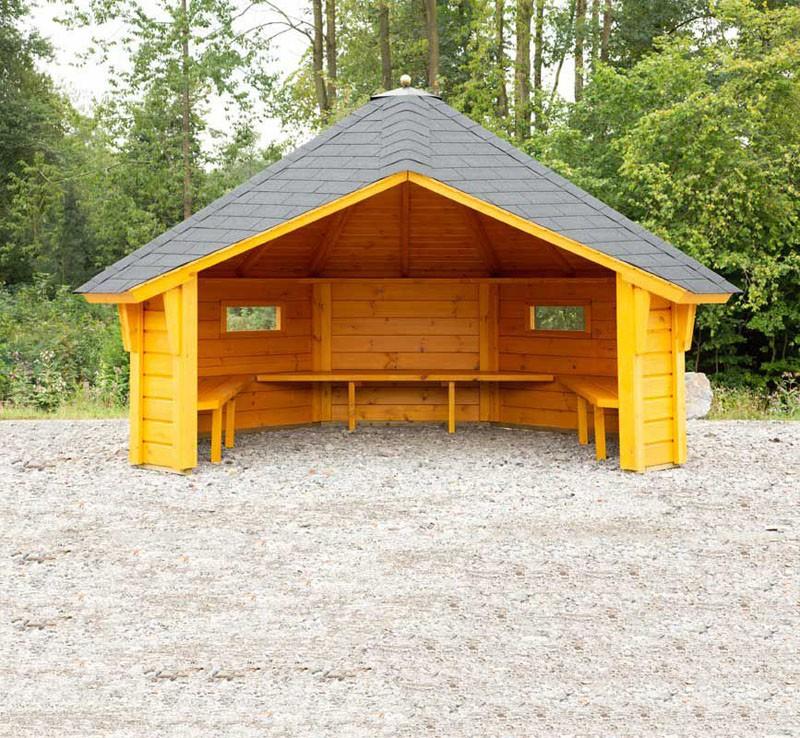 Wolff Finnhaus Wetterschutzhütte mit schwarzen Dachschindeln