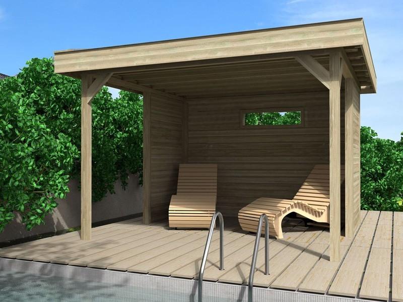 Wolff Finnhaus Flachdach Gartenpavillon Elba A Grundbauset  mit Wandset und 1 Fenster - kdi - kesseldruckimprägniert