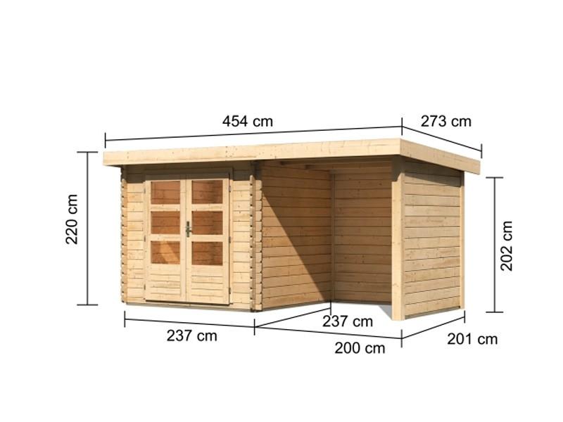 Woodfeeling Aktion-Gartenhaus Bastrup 2 inkl. 2 m Anbaudach mit Seiten- und Rückwand - unbehandelt