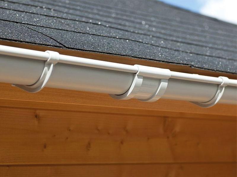Karibu Dachrinne Set C - für Satteldach beidseitig - PVC - grau - 2 x 4 m