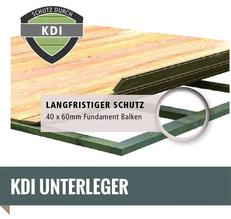 Karibu Holz-Gartenhaus Torgau 5 mit Anbaudach 3,3m + Rückwand + Seitenwand - 40 mm Blockbohlenbau - naturbelassen