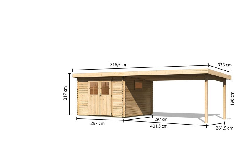 Karibu Gartenhaus Torgau 3 im Set mit Anbaudach 4,4 m naturbelassen